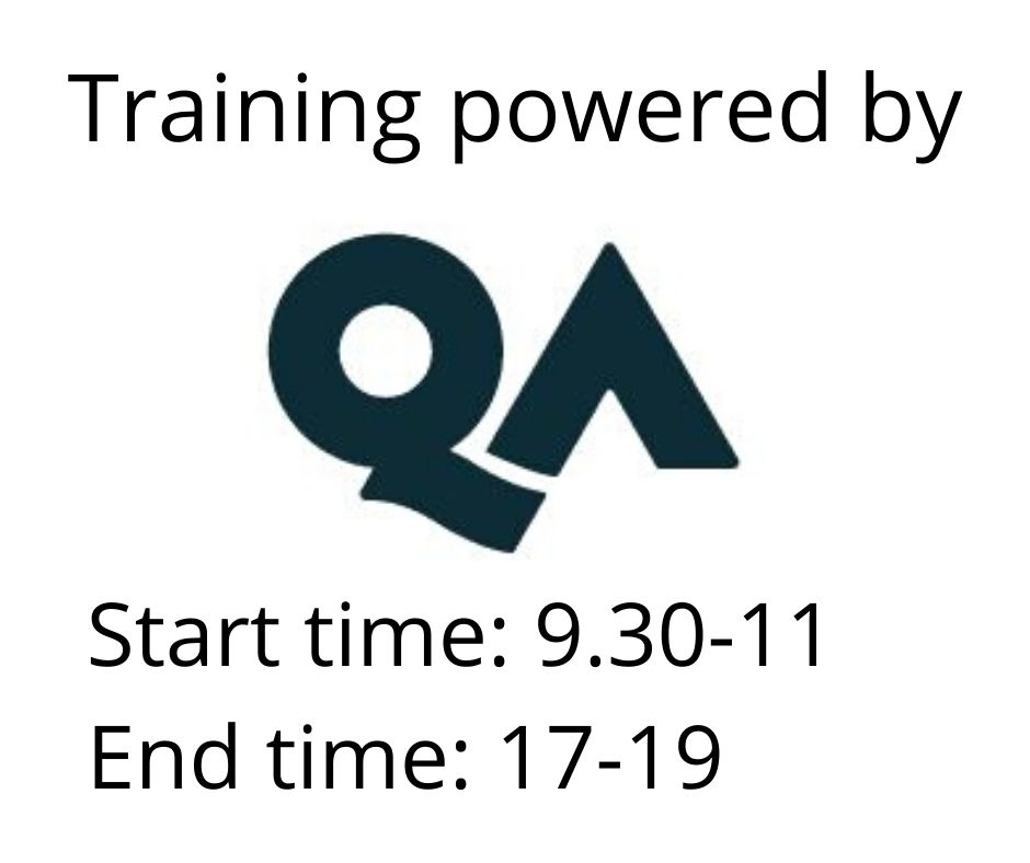 Powered by QA. Start time: 9.30-11, end time: 17-19